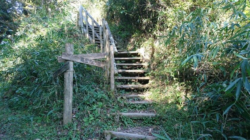 木の階段になっており、ここを登ると「生駒縦走歩道」の尾根コースに出る