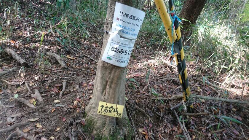 通報ポイント看板「おおみち12」と、その下の「↑高安山」と書かれた小さい板