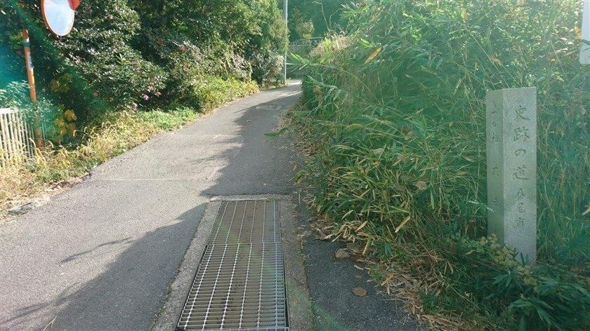池の横を抜けると、舗装道路に出る。史跡の道の道標があり、これを登る