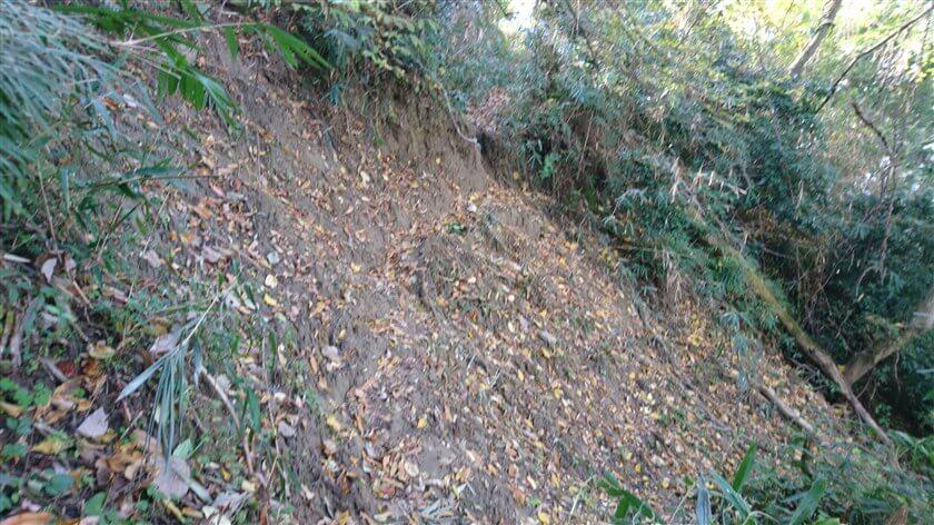 問題の箇所。土砂崩れで道が無くなっている。捕まる所もないが、注意深く歩けば何とかなる。
