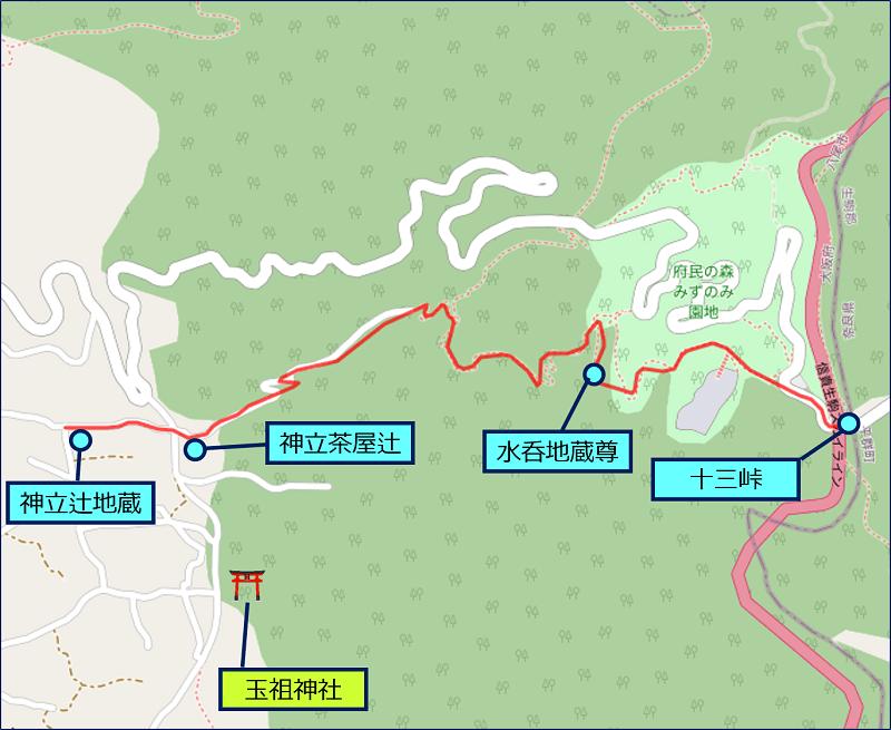 十三峠越えルートの地図