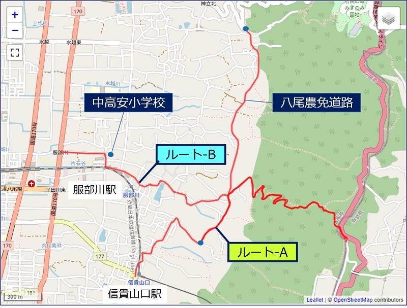 「立石峠越え」登り口までの、代替コース