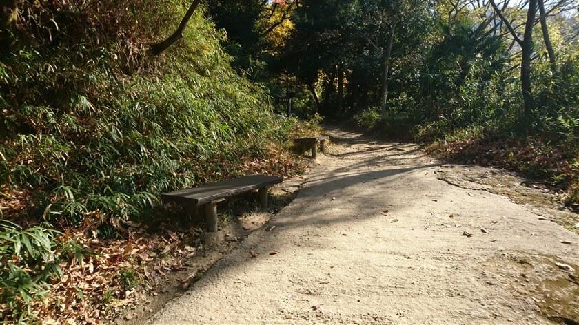恩智新道の最初の休憩ポイントである「屋根付き休憩ポイント」を過ぎると直ぐに、左手にベンチが2つある