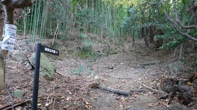 「高安山方面」と書かれた道標の後ろに、通報ポイント看板がある