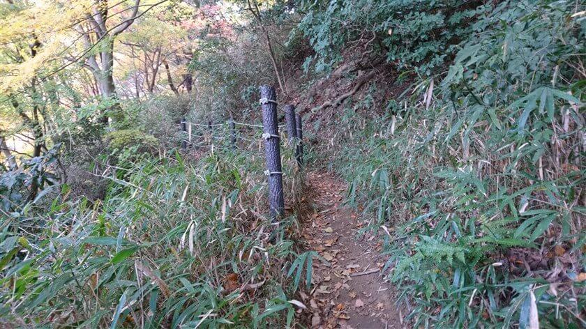 左は谷だが、柵で安全を確保してある