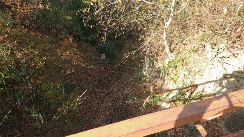 開運橋の上から見た、「おおみちハイキング道」