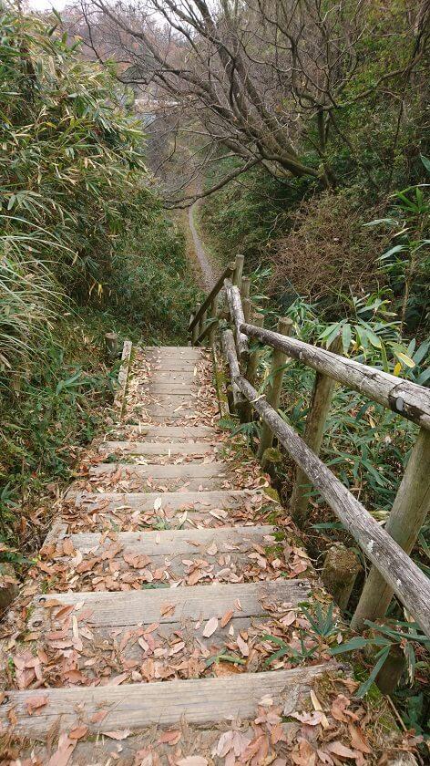 木の階段になり、降りた地点を右に行く