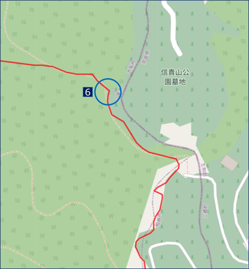 恩智信貴道から、稜線(生駒縦走歩道)への合流地点