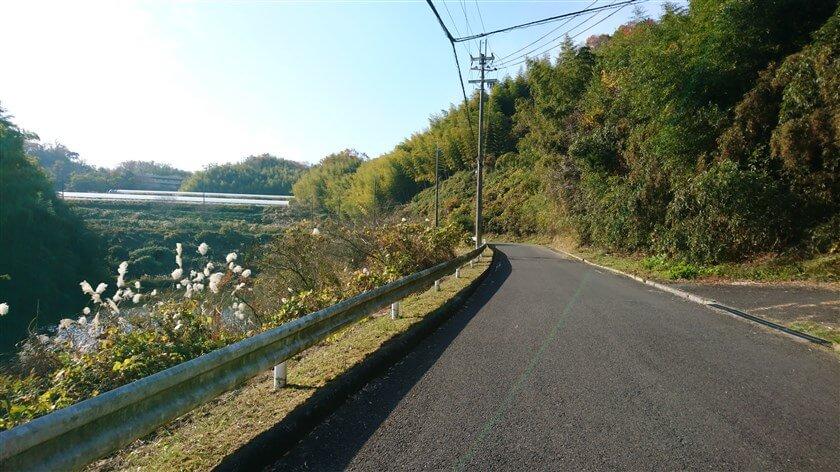 「信貴山のどか村」に向かう、左カーブの坂道