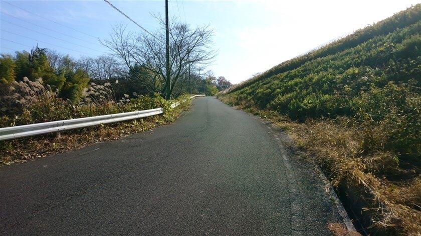 正面左が「信貴山のどか村」、もう少しで登りが終わる