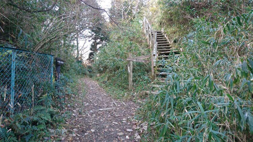 右に、生駒縦走歩道に上がる階段がある
