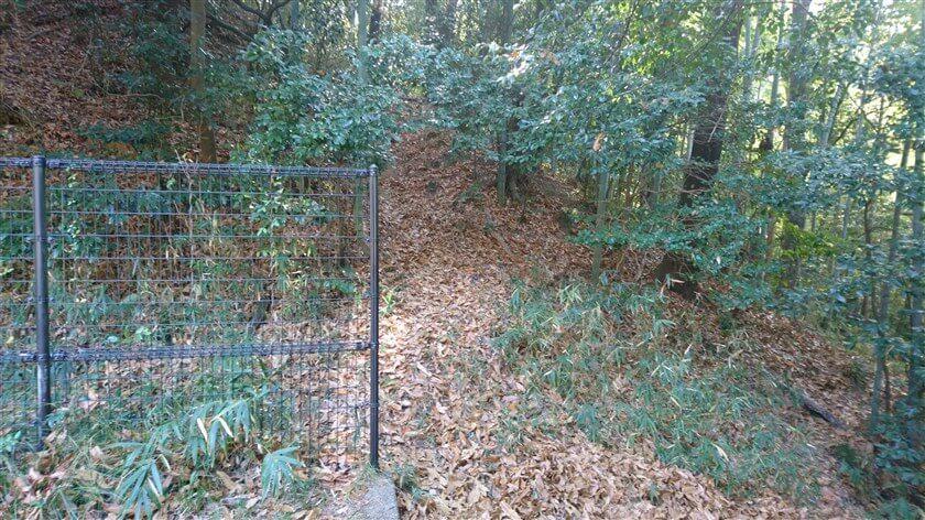 この「末広神社」の裏、フェンスの横を抜けて山に登る道があり、ここが、【尾根道】ルートの登り口になっている