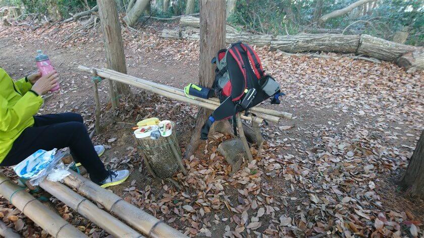 竹のベンチがあり、テーブルになる丸太もあって、昼食にもってこいの場所がある