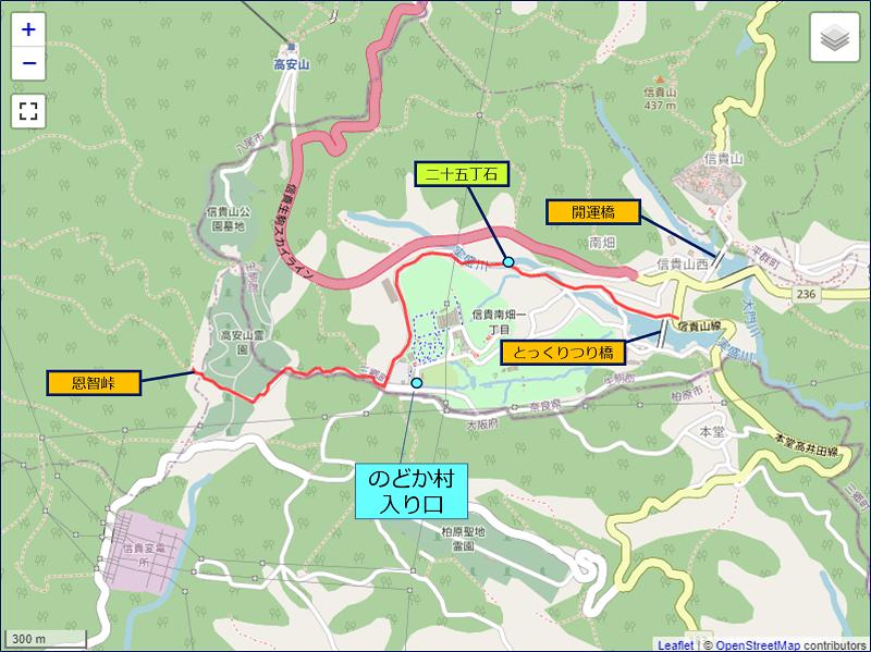 とっくりつり橋~二十五丁石~恩智峠 ルートの地図