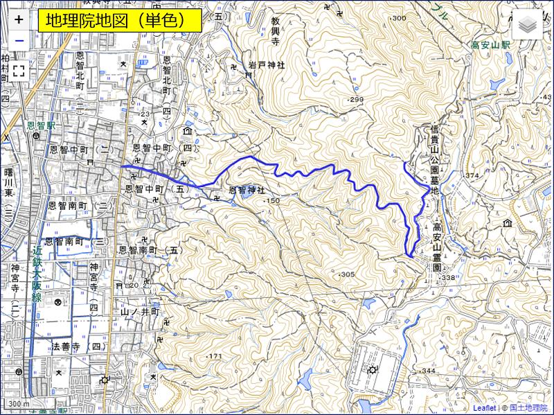 「地理院地図(単色)」を指定した場合の表示