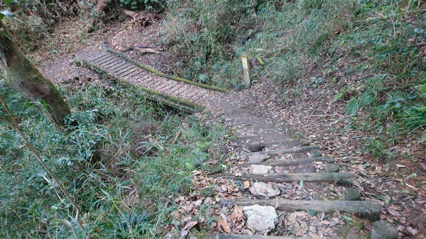 途中に川が流れており、木の橋を渡る個所もある