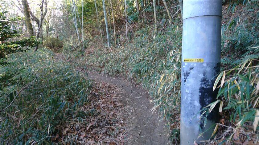 電柱に「←車道に出て・・・」のガムテープが貼ってある