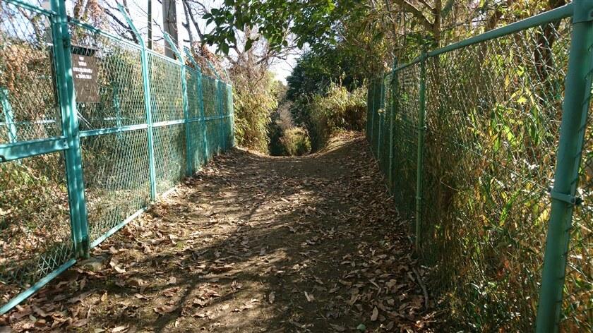 フェンスの向こうは下り坂になっている様子で、左側には何やら設備がある