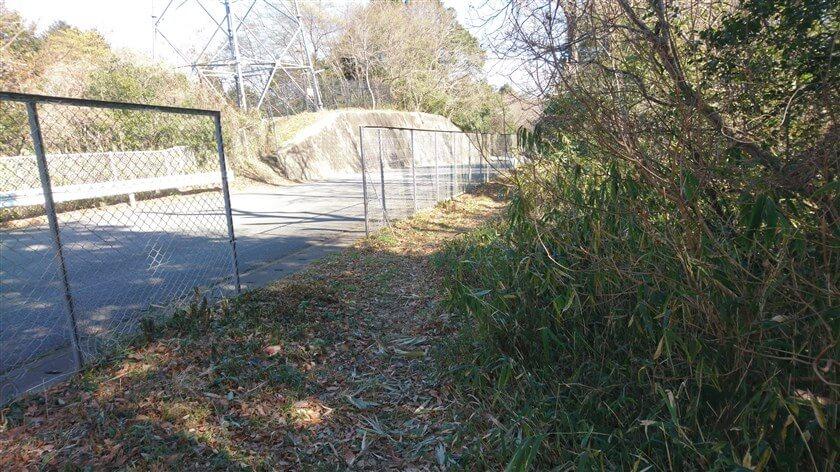 信貴フラワーロードとの境にフェンスがあり、車道と並行して進む