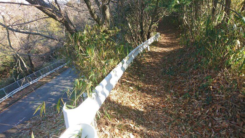 ハイキング道の横に「ガードレール」が作られており、車道を見下ろす箇所がある