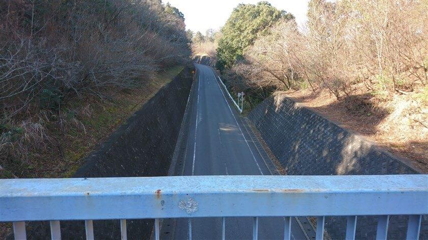 歩道橋から見た、信貴フラワーロードの様子