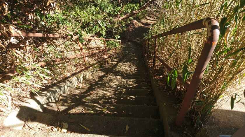 歩道橋を降りる階段の様子