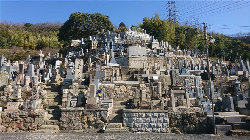 来迎寺墓地の中に、上に登る階段がある