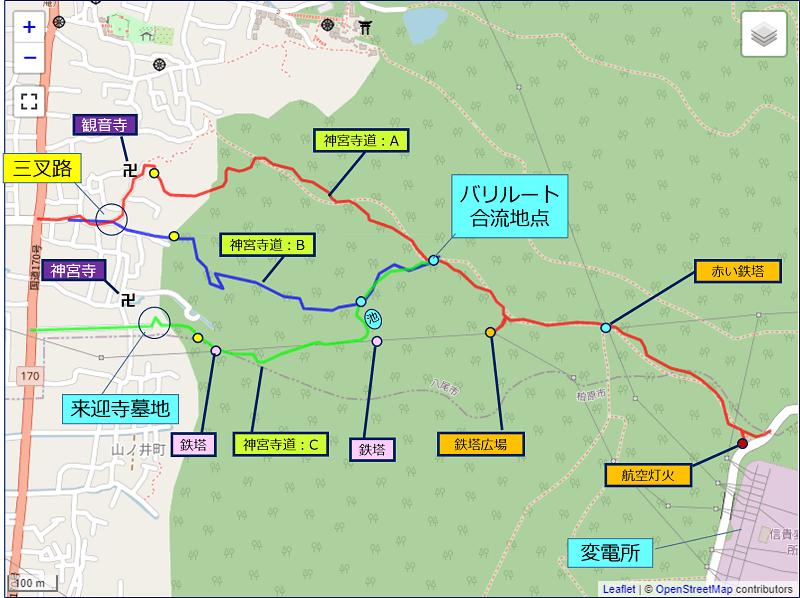 神宮寺ルートの地図
