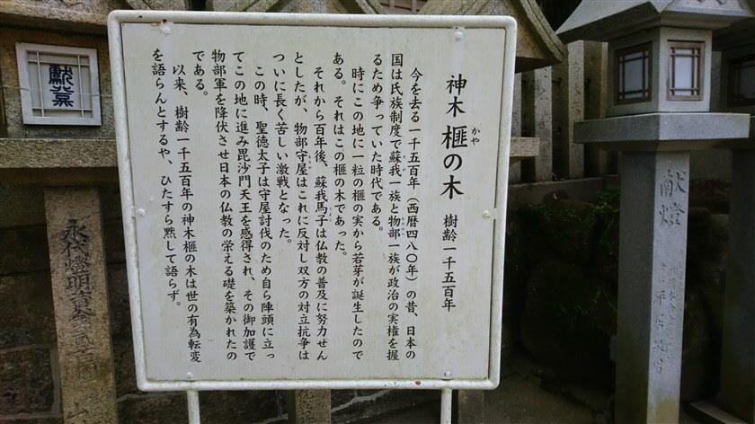 「神木 榧の木」の説明板
