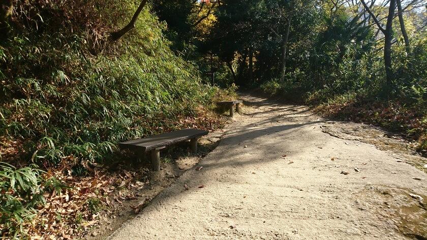 「屋根付き」休憩所を過ぎると、直ぐに、左手にベンチが2つある。2か所目の休憩ポイント。