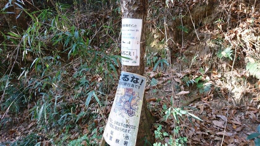 右に行くと総池(そいけ)に向かう分岐点の左手に、通報ポイント看板「おんじごえ1」がある
