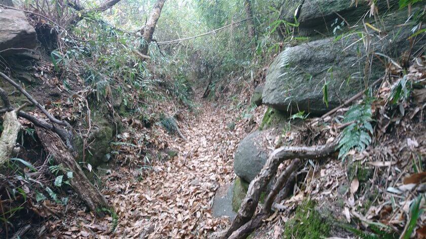 両サイドが岩で、その間が削られた「V字谷」を行く