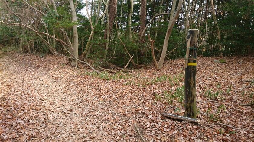 道標があるが、「信貴山朝護孫子寺」と書かれた案内板が落下している