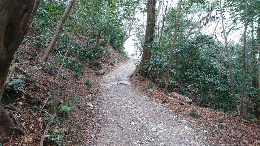 舗装がはがれ、石ころの道になる