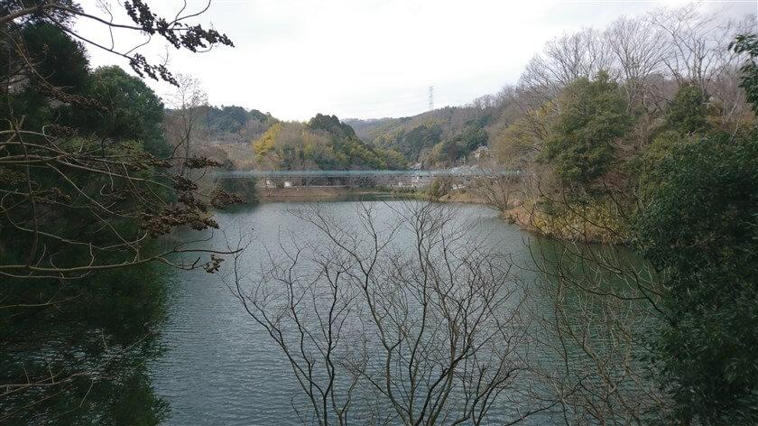大門ダムを西に降りて、とっくりダムの堰堤から「とっくりつり橋」を望む