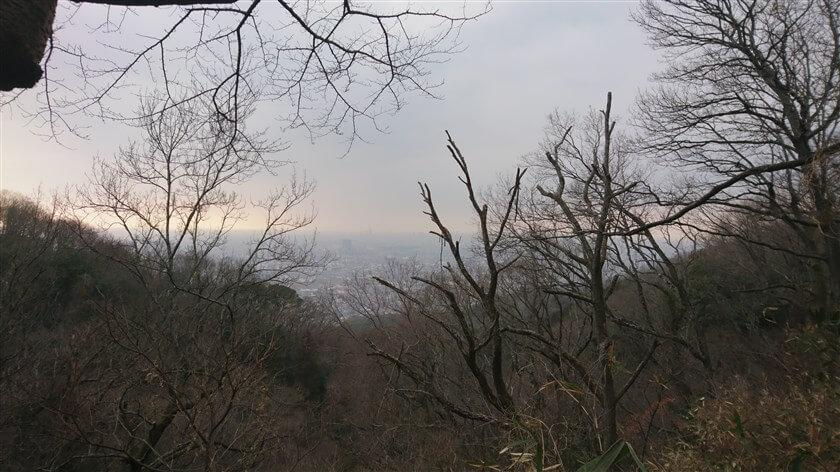 途中のビューポイントから、大阪湾を望む