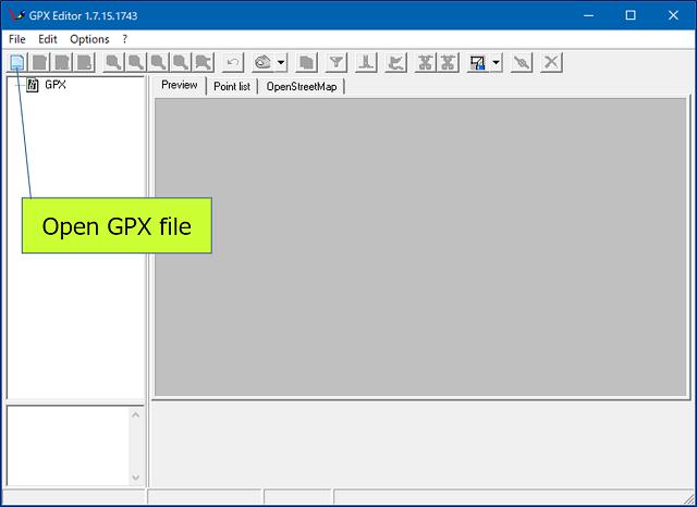 「GPX Editor」の初期画面