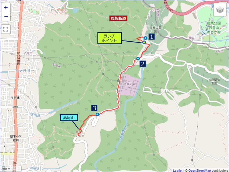 恩智峠から高尾山に至るショートカットルート