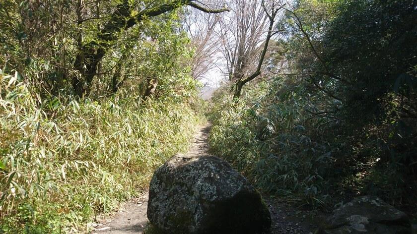 大きな岩の、脇を通って進む