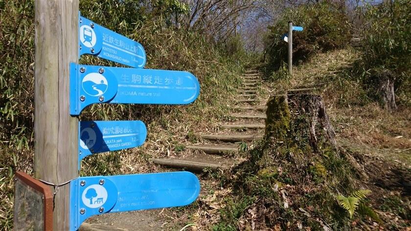 左、あじさい園、直進:近鉄生駒山上駅、右:ぬかた園