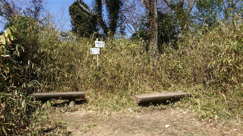 右に大きくカーブする地点に、ベンチがある