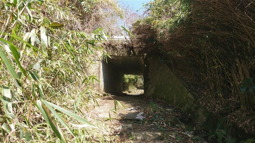 「摂河泉展望コース:せ - 20」を過ぎると、信貴生駒スカイラインの下を潜る遂道がある