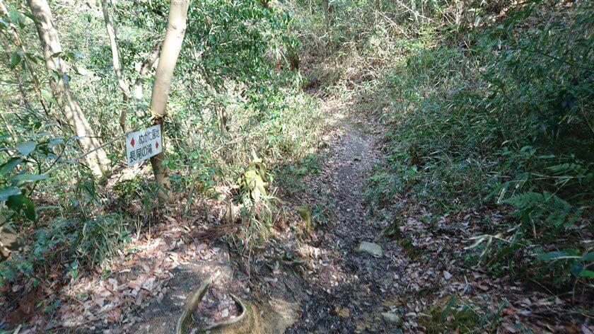 「←ぬかた園地 長尾の滝→」の標識がある