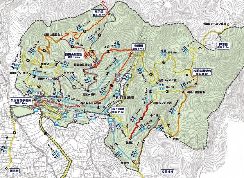 枚岡公園の地図と「豊浦橋」~「双子塚」までのルート