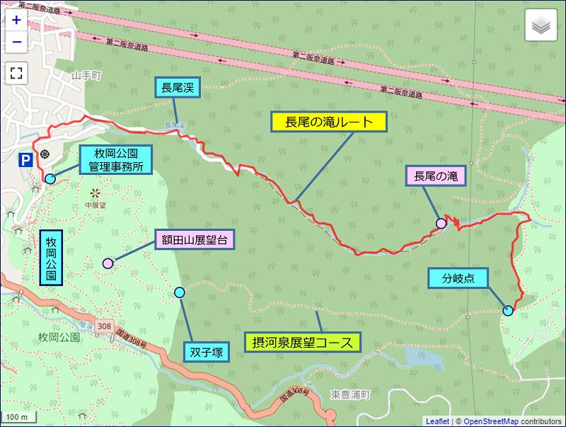 長尾の滝ルートの地図