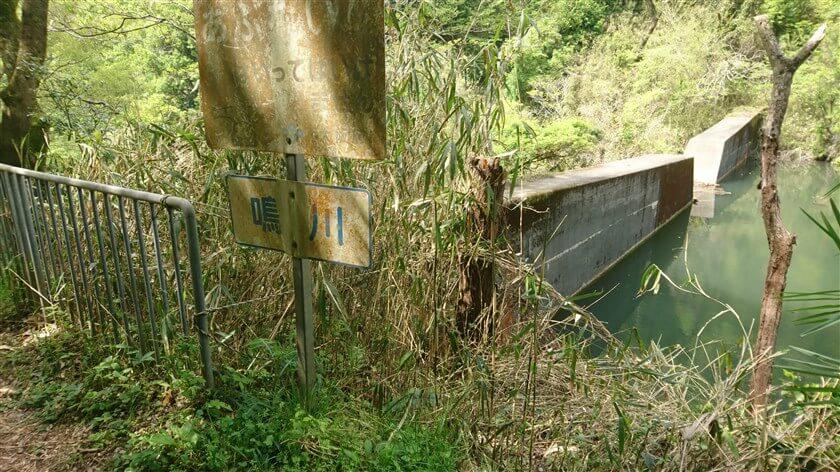 砂防ダムに、「鳴川」と書かれた標識がある