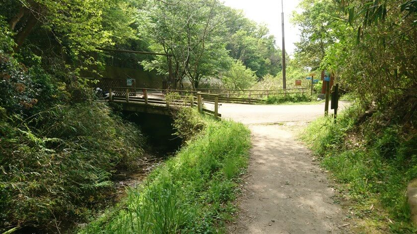 「らくらく登山道」に合流する。直進して「なるかわ谷コース」を行けば、瓢箪山駅に続く。