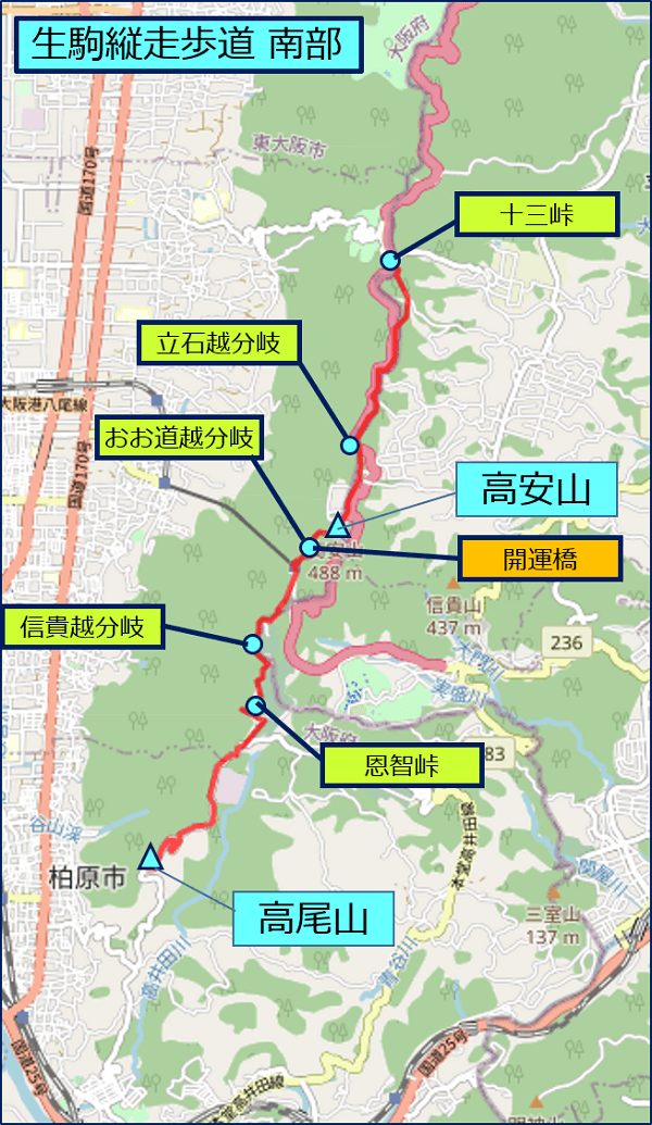 生駒縦走歩道 南部:十三峠~高尾山