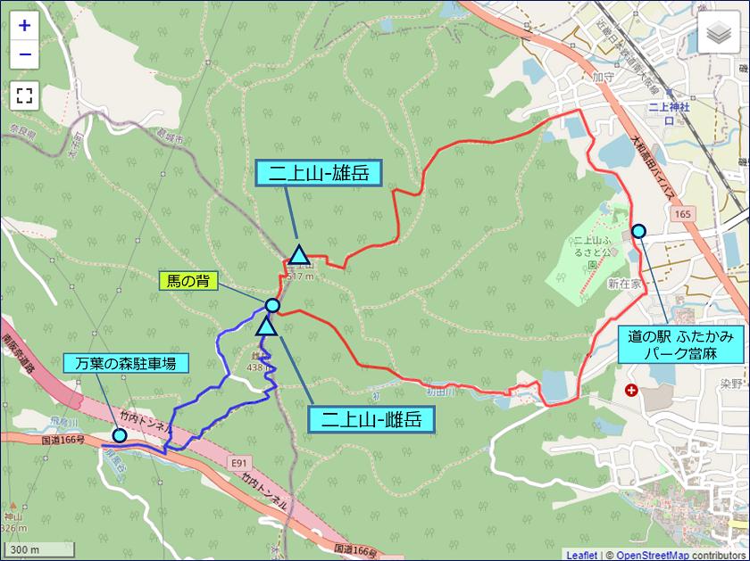 二上山のトレッキングルート