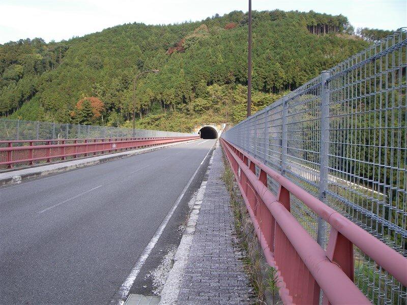 賀名生大橋(かなうおおはし)を渡ると、すぐに「南朝トンネル」へと続く